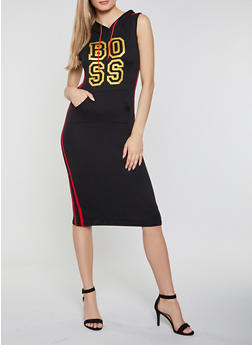 Varsity Stripe Boss Graphic Midi Dress - 0094038349858