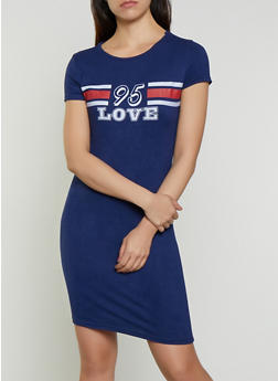 Slashed Back Graphic T Shirt Dress - 0094038349864