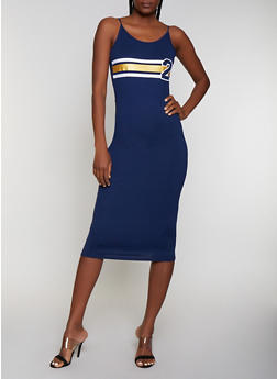 Stripe Detail Midi Cami Dress - 0094038349865