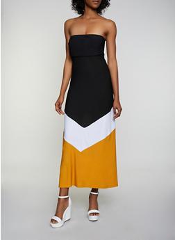 Strapless Chevron Maxi Dress - 0094038349877