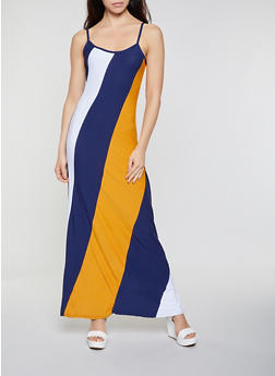 Color Block Cami Maxi Dress - 0094038349882