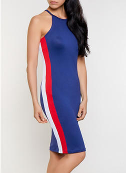 Side Stripe Midi Tank Dress - 0094038349883