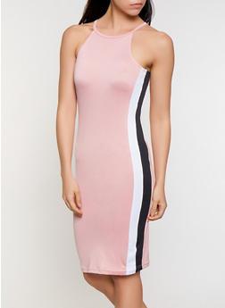 Side Stripe Midi Tank Dress - 0094038349883