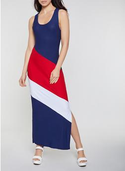Color Block Racerback Tank Maxi Dress - 0094038349885