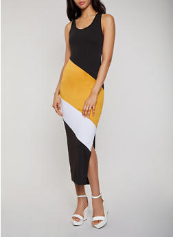 Color Block Racerback Tank Maxi Dress - 0094038349885