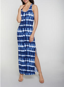Tie Dye Striped Racerback Tank Maxi Dress - 0094038349901
