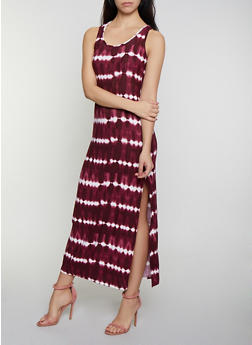 Tie Dye Striped Racerback Tank Maxi Dress - 0094038349901