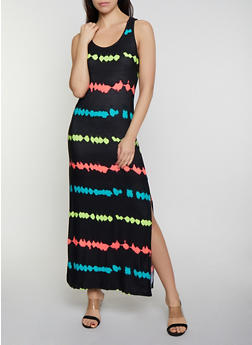 Racerback Printed Neon Maxi Tank Dress - 0094038349903