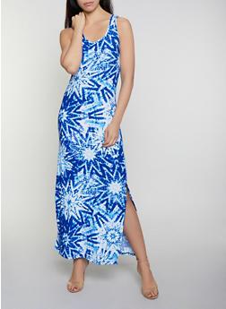 Tie Dye Star Print Maxi Dress - 0094038349904