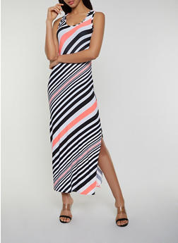 Diagonal Stripe Maxi Tank Dress - 0094038349907