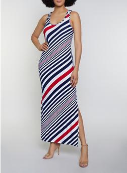 Diagonal Stripe Maxi Tank Dress - 0094038349907