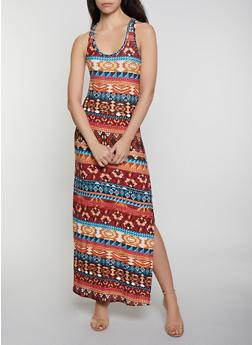 Aztec Print Tank Maxi Dress - 0094038349908
