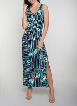 Side Slit Printed Tank Maxi Dress - 0094038349914