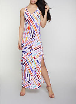 Printed Side Slit Tank Maxi Dress | 0094038349917 - 0094038349917