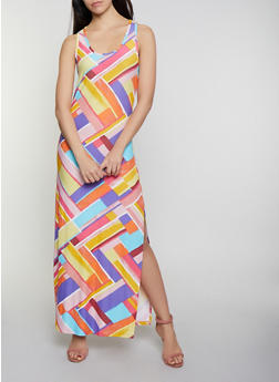 Printed Racerback Tank Maxi Dress - 0094038349918
