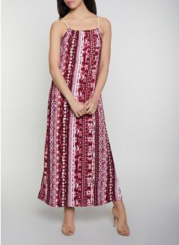 Printed Tie Dye Maxi Dress - 0094038349941