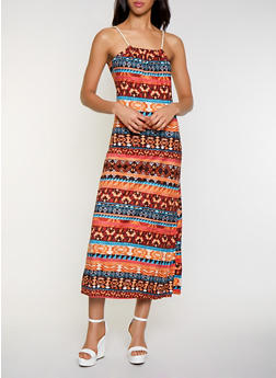 Printed Rope Strap Maxi Dress - 0094038349945
