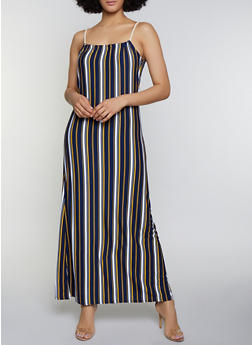 Striped Keyhole Maxi Dress - 0094038349946