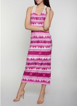 Crochet Yoke Printed Maxi Dress - 0094038349947
