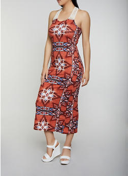 Soft Knit Printed Crochet Yoke Maxi Dress - 0094038349948
