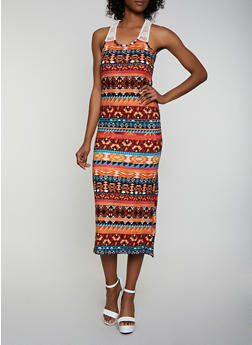 Printed Crochet Yoke Tank Dress - 0094038349949