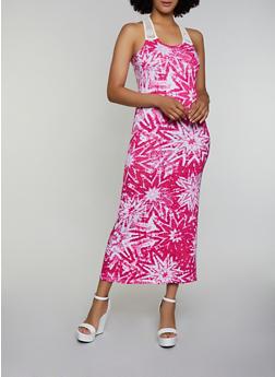 Tie Dye Crochet Yoke Maxi Tank Dress - 0094038349951