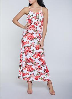 Floral Cinched Waist Maxi Dress - 0094038349957