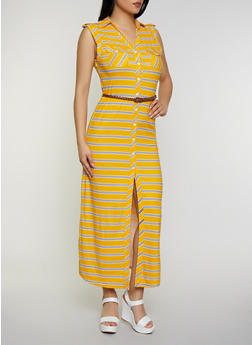 Striped Maxi Shirt Dress - 0094038349961