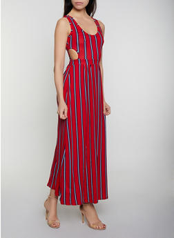 Cut Out Striped Maxi Dress - 0094038349965