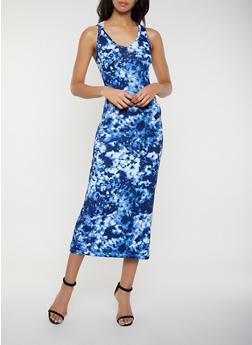 Hooded Tie Dye Tank Dress - Blue - Size L - 0094038349966