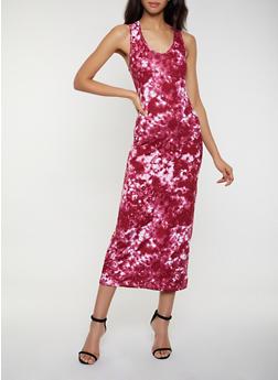Hooded Tie Dye Tank Dress - Burgundy - Size M - 0094038349966