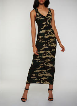 Hooded Camo Tank Maxi Dress - 0094038349967