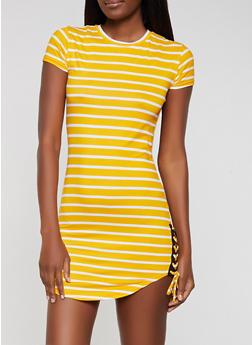 Striped Lace Up Hem T Shirt Dress - 0094038349974