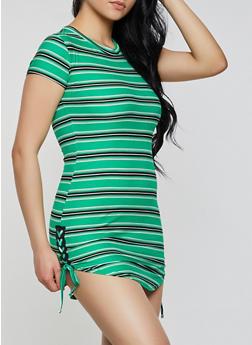 Striped Lace Up Side T Shirt Dress - 0094038349975