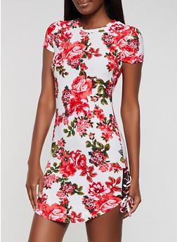 Lace Up Floral T Shirt Dress - 0094038349976