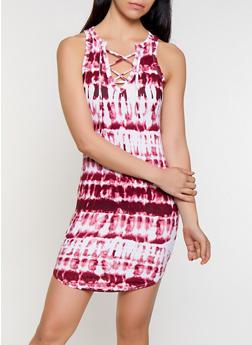 Tie Dye Lace Up Tank Dress - 0094038349979