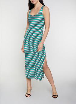 Horizontal Striped Tank Dress - 0094038349989