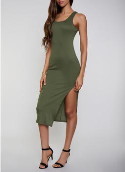 Ribbed Caged Back Tank Dress - 0094038349993
