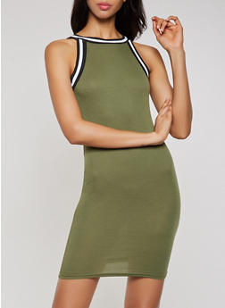 Ribbed Knit High Neck Bodycon Dress - 0094038349994