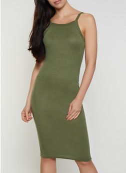 Ribbed Scoop Neck Tank Dress - 0094038349995