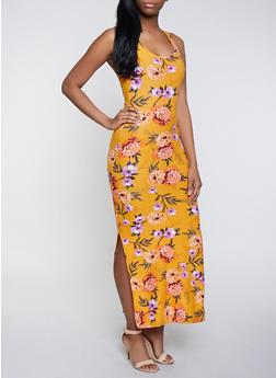 Floral Side Slit Maxi Dress - 0094051062954