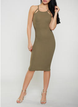 Cut Out Ribbed Knit Tank Dress - 0094051063940