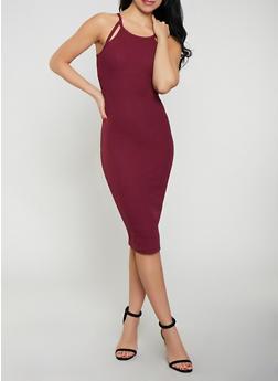 Cut Out Ribbed Knit Tank Dress - 0094051063940