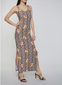 Aztec Floral Tank Maxi Dress - 0094051063954