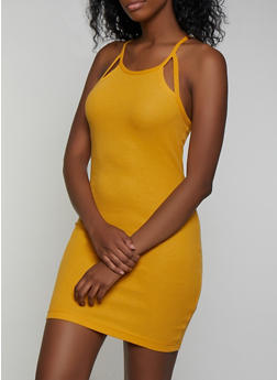 Ribbed Cut Out Detail Cami Dress - 0094051064035
