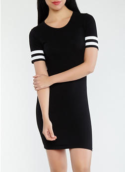 Varsity Stripe Sleeve T Shirt Dress - 0094054260490