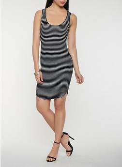 Striped Rib Knit Tank Dress - 0094054260496