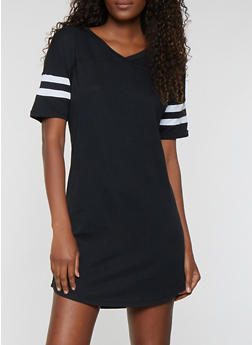 Striped Sleeve T Shirt Dress - 0094054260508