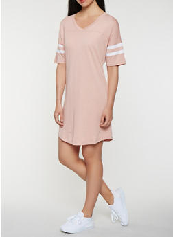 Striped Sleeve T Shirt Dress - 0094054260508