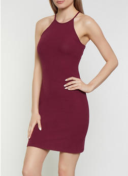 Ribbed Knit Midi Bodycon Dress - 0094054261074